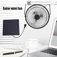 Solar Panel Powered Fan Mini Cooling Ventilation Fan USB Iron Fan For Home Office Outdoor Traveling Fishing
