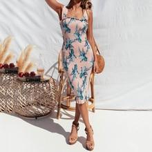 Women Boho Dresses Floral Bodycon Summer Party Evening Beach Short knee Dress Sundress Print Sleeveless Elegant Pink Green
