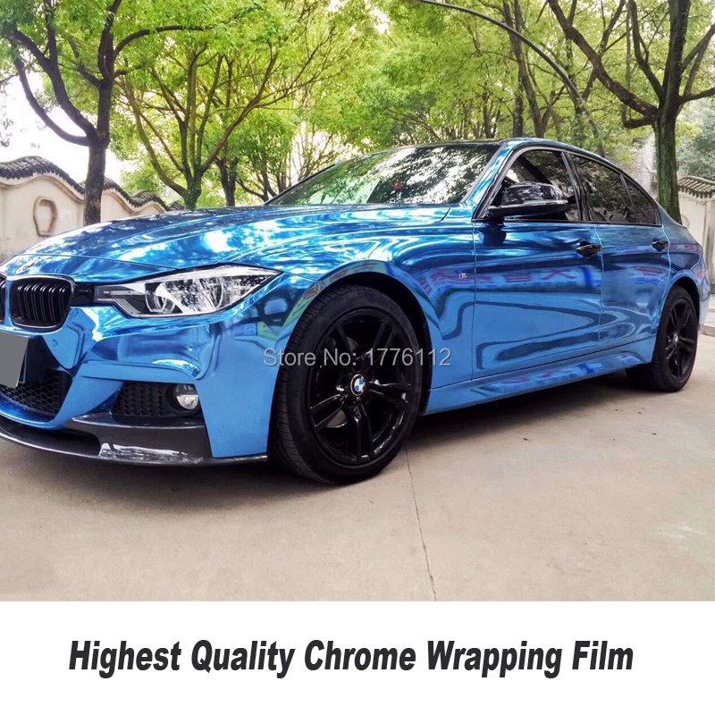 Stretchable Blue Mirror Chrome Vinyl Wrap Car Wrapping Film Chrome Gloss Blue Foil any color Choice size 5ft X 65ft/Roll