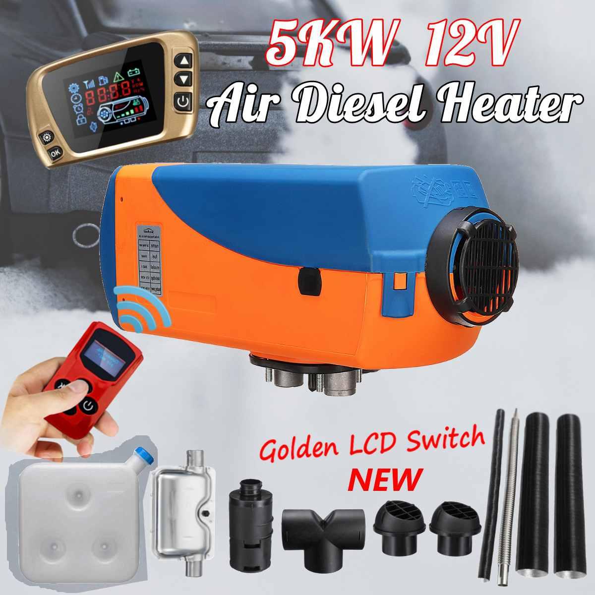 12 V 5KW voiture Parking Air Diesels chauffe-carburant LCD commutateur 5000 W voiture chauffage pour RV bateaux camping-Car camions remorque + télécommande + silencieux
