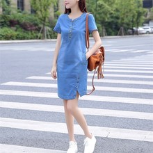 2019 Women Korean Sexy Denim Dress Summer Casual Jeans Dress with Button Pocket Plus Size Party Mini Dress недорого