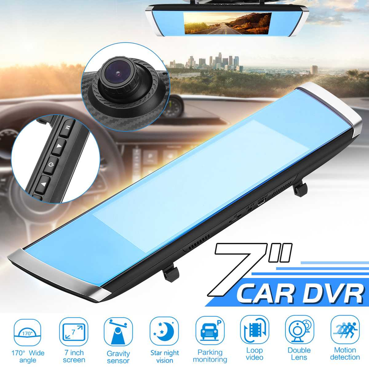 7 Inch Screen Full HD 1080P 170 Degree Angle Car DVR Camera Blue Rear View Mirror Video Recorder Dual Lens Dash Cam Detector7 Inch Screen Full HD 1080P 170 Degree Angle Car DVR Camera Blue Rear View Mirror Video Recorder Dual Lens Dash Cam Detector