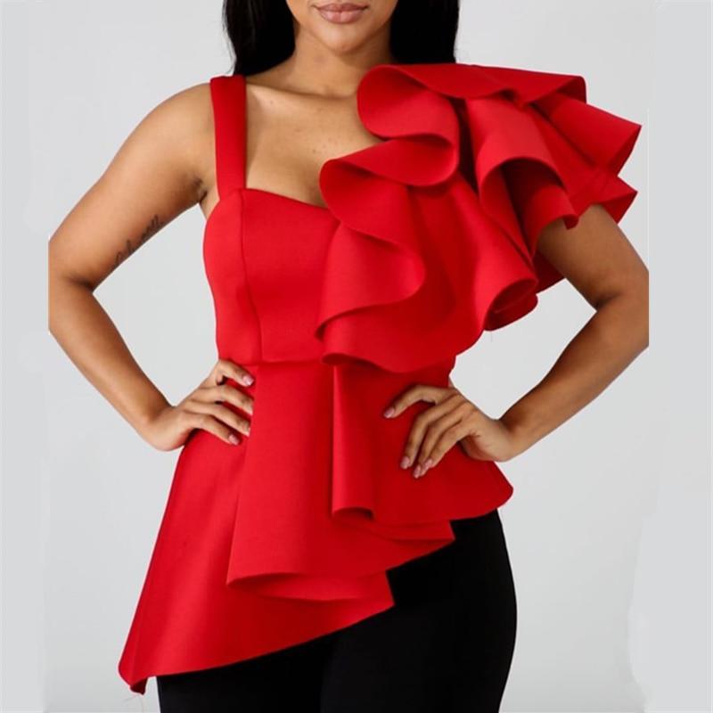 Women Blouse Tops Shirts Sexy Peplum Red Ruffles Irregular Sleeves Slim Party Wear 2019 Summer New Fashion Elegant Ladies Bluas