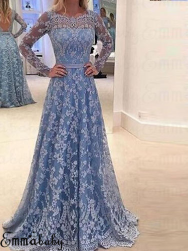 Womens Formal Long Dress Floor-Length Blue Party Ladies Prom Lace Backlesss Sexy Hollow Plus Size