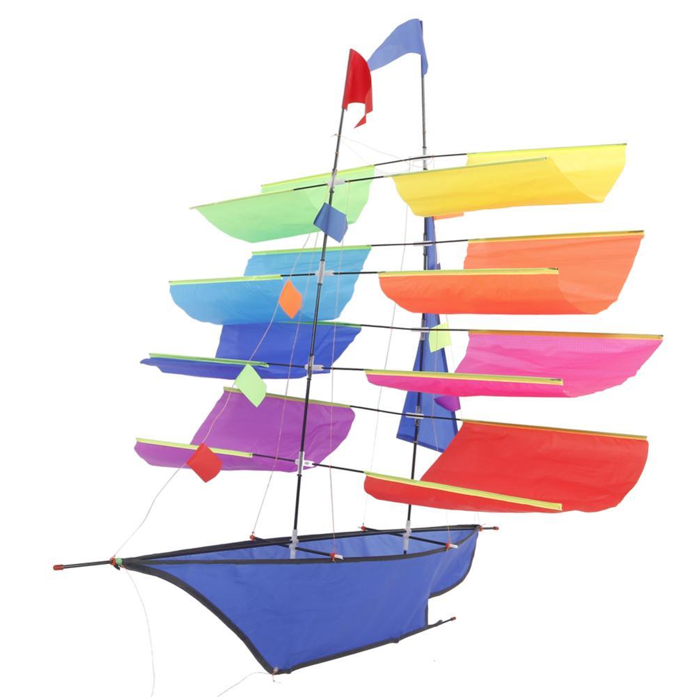 3D Sailing Ship 30M Kite Single Line With Tail Kites Outdoor Fun Toy Kite Family Outdoor Sports Toy Children Kids Free Shipping