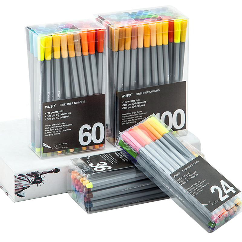 0.4mm Colorful Fineliner Marker Pen 24/36/60/100 Colors Superfine Water Based Assorted Ink Drawing Hook Fiber Pen Art Stationery