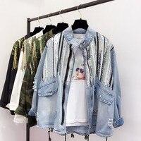 Casual Boho Camouflage Print Long Sleeve Jacket Loose Women Sequins Shinny Lace Up Denim Coat Vintage Broken BF Denim Jackets