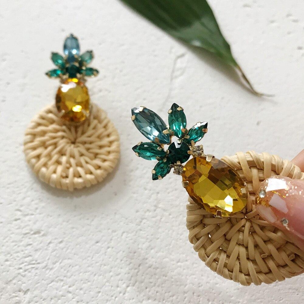 Korea Summer Bohemian Straw Woven Geometric Dangle Earrings For Women Crystal PineappleExaggerate Round Pendant Beach Jewelry in Drop Earrings from Jewelry Accessories