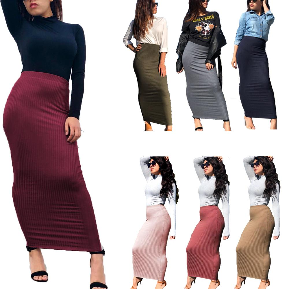 Women Wrap Skirt Bodycon Pencil Sheath Knitting Muslim Maxi Bottoms Sarong Islamic Skirt Ankle-Length