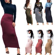 Women Wrap Skirt Bodycon Pencil Sheath Knitting Muslim Maxi Bottoms Sarong Islamic Skirt Ankle-Length(China)