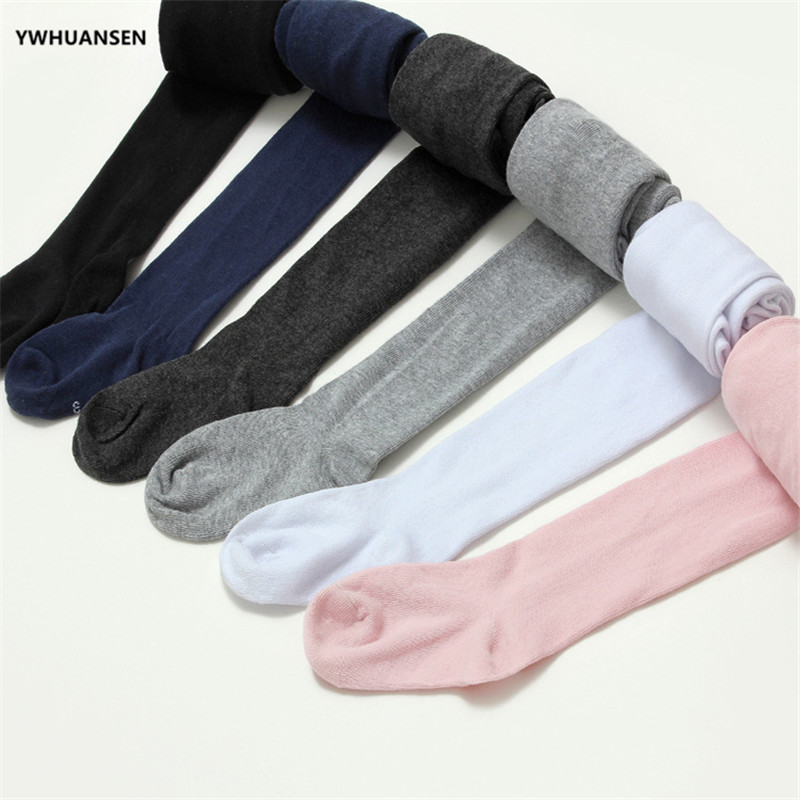 YWHUANSEN 2-10T Spring Summer Girls Cotton Tights Footed Seamless Knitted Dance Ballet Toddler Baby Girls' Pantyhose For Autumn
