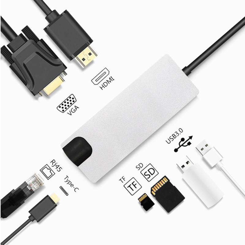 Trumsoon Type-C to HDMI USB3.0 VGA Hub Adapter SD TF Card Reader RJ45 Type-C Charging for MacBook Samsung S8 Huawei P20 matebook