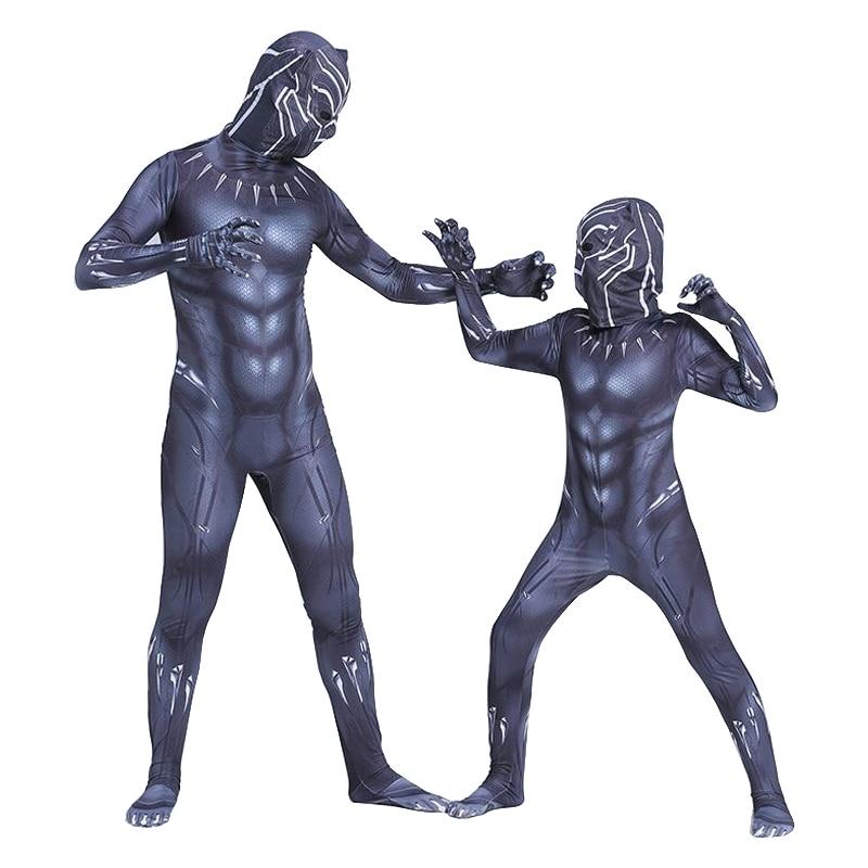 Kids Black Panther Costume Boy Adult Men Children Cosplay Jumpsuit Bodysuit Halloween For
