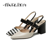 AIKELINYU Women's Pointed Toe Mixed Color Sandals Lady Genuine Leather Square Heel Summer Shoes Women Fashion Roman Style Sandal