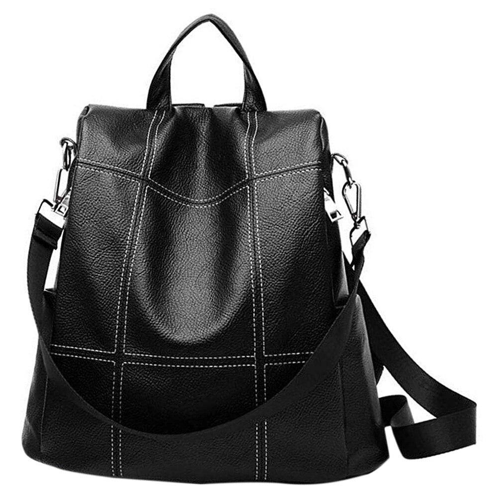 Mochila feminina bolsa impermeável couro do plutônio anti-roubo mochila moda escola bolsa de ombro