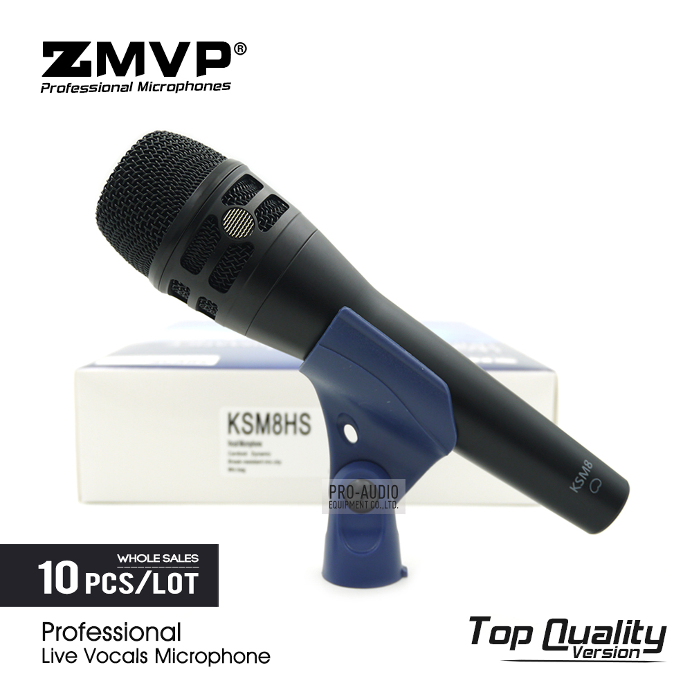 10pcs/lot Top Quality KSM8 Professional Live Vocals KSM8HS Dynamic Wired Microphone Karaoke Super Cardioid Stage Performance Mic