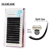 GLAMLASH CD Curl Matte Flat Eyelash Extensions Individual Mink Softer Ellipse Lash extension Split Tips Ligher 3D Looking Cilios недорого