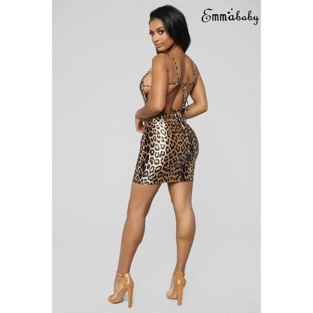 Sexy Club Women Backless Dress Strappy Leopard Print Mini Dress