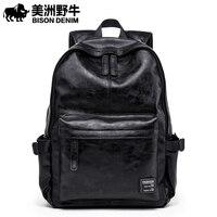 BISON DENIM Korean Style Leather Men Leisure Travel Backpack Fashion School Bag Teenage 15 inch Laptop Backpacks N2828 1