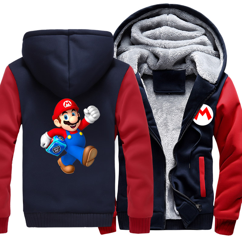 US size Men Coat for Game Super Mario Bros Odyssey Galaxy Cosplay Thicken Winter Fleece Hooded Sweatshirts  anime hoodie