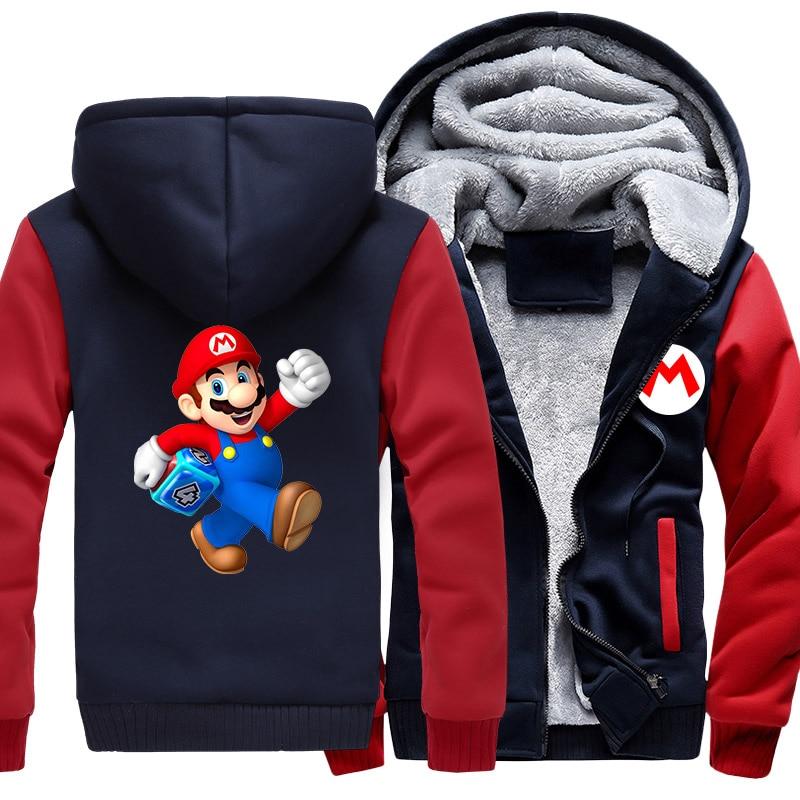 US size Men Coat for Game Super Mario Bros Odyssey Galaxy Cosplay Thicken Winter Fleece Hooded Sweatshirts  anime hoodie