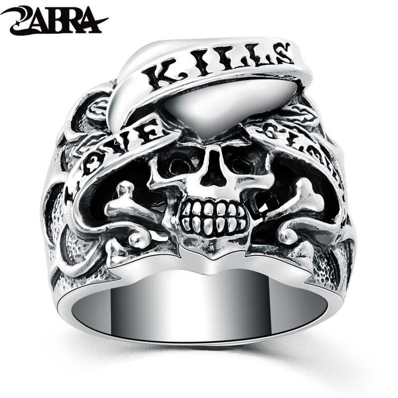 678623fa63 ZABRA 925 Silver Vintage Gothic Skull Ring Man Rings Heart Signet Retro  Style Warcraft Big Biker