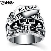 ZABRA 925 Silver Vintage Gothic Skull Ring Man Rings Heart Signet Retro Style Warcraft Big Biker Male Sterling Silver Jewelry