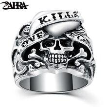 ZABRA 925 srebrny Vintage Gothic pierścień czaszka człowiek pierścienie serce sygnet Retro Style Warcraft Big Biker mężczyzna srebro biżuteria