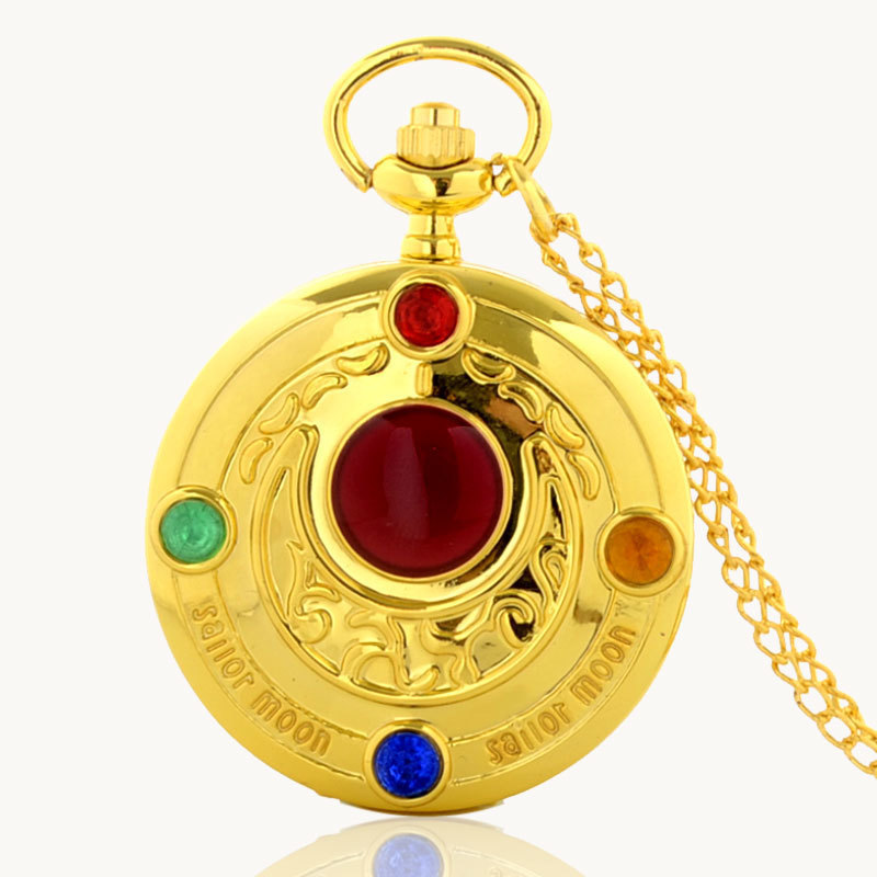 IBEINA Sailor Moon Theme Full Hunter Quartz Engraved Fob Retro Pendant Pocket Watch Chain Gift