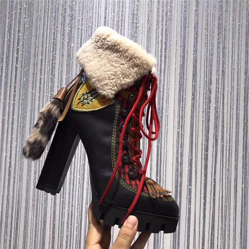 Новое поступление 2019, Botas Feminina, ботинки на платформе из натуральной кожи и натурального меха, женские ботильоны на высоком толстом каблуке с