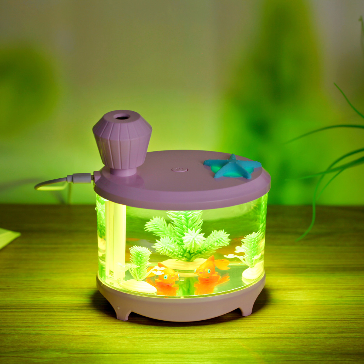 LED Light 5V USB Fish Tank Shaped Humidifier Air Diffuser Purifier Aroma Mist Maker for Bedroom Study Office Living Room Colors usb led light humidifier fish tank aquarium shaped air diffuser purifier atomizer ultrasonic mist maker office home supplies