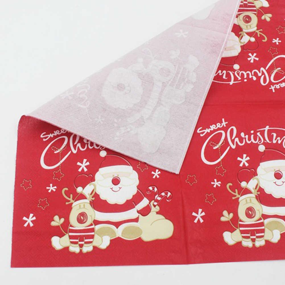 20 sztuk drukowane boże narodzenie serwetki święty mikołaj Xmas łosia jednorazowe papierowe ręcznik papierowy tkanki dla dorosłych dzieci Christmas Party