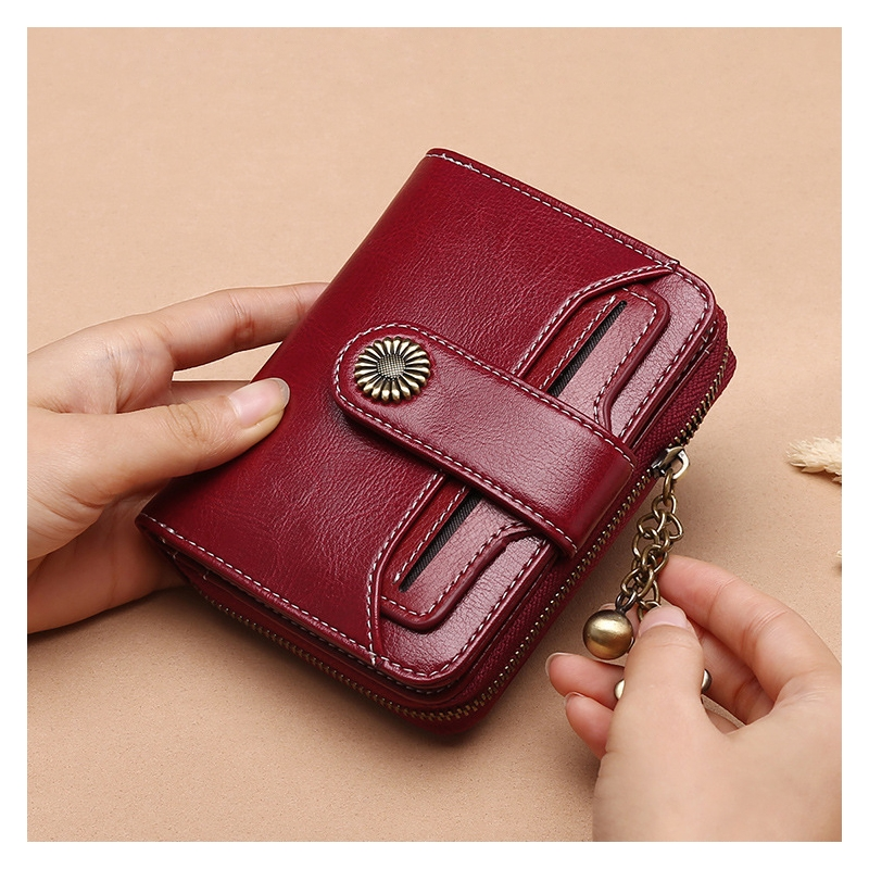 2019 Leather Ladies Wallet Female Short Student Korean Version Multi Function Mini Purse Driving License Wallet in Wallets from Luggage Bags