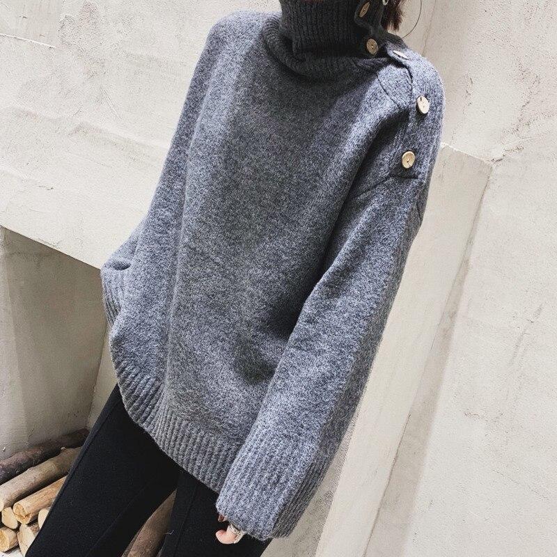 bbbdf80bcdc3 Grey De Larga Tops Otoño Color 2019 E Sólido Manga Cuello Irregular ...