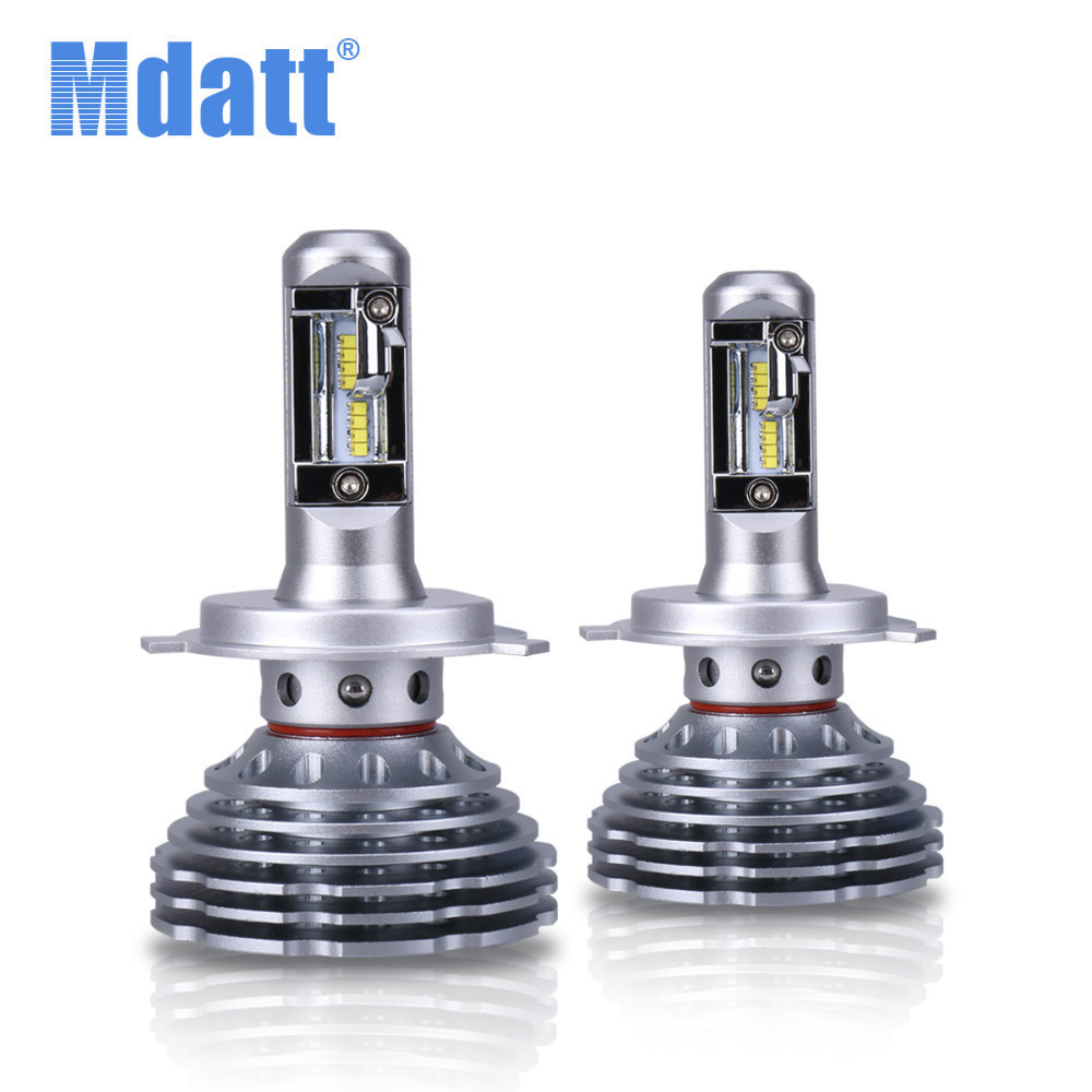 Mdatt Superbright Fanless Car Light 120W 12000LM LED Headlight ZES Bulb H4 Led H1 H7 H11