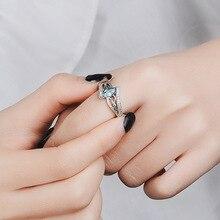 Sapphire Topa Stone Diamond Bague Etoile Ring Bizuteria Anillos De Ruby Diamante Blue Jewelry for Womoen NoEnName