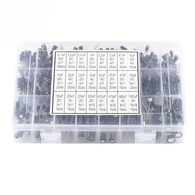 500pcs 24 Values Aluminum Electrolytic Capacitor Assorted Kit 10V~50V 0.1uF to 1000uF