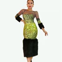 Полный Стразы перо платье Роскошные Bling Crystal Для женщин вечерние день рождения знаменитости выпускного вечера вечерние зеленое платье для п