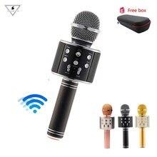 WS 858 беспроводной микрофон караоке профессиональный конденсаторный микрофон Wtih сумка Bluetooth подставка радио Mikrofon студия Запись микрофон WS858