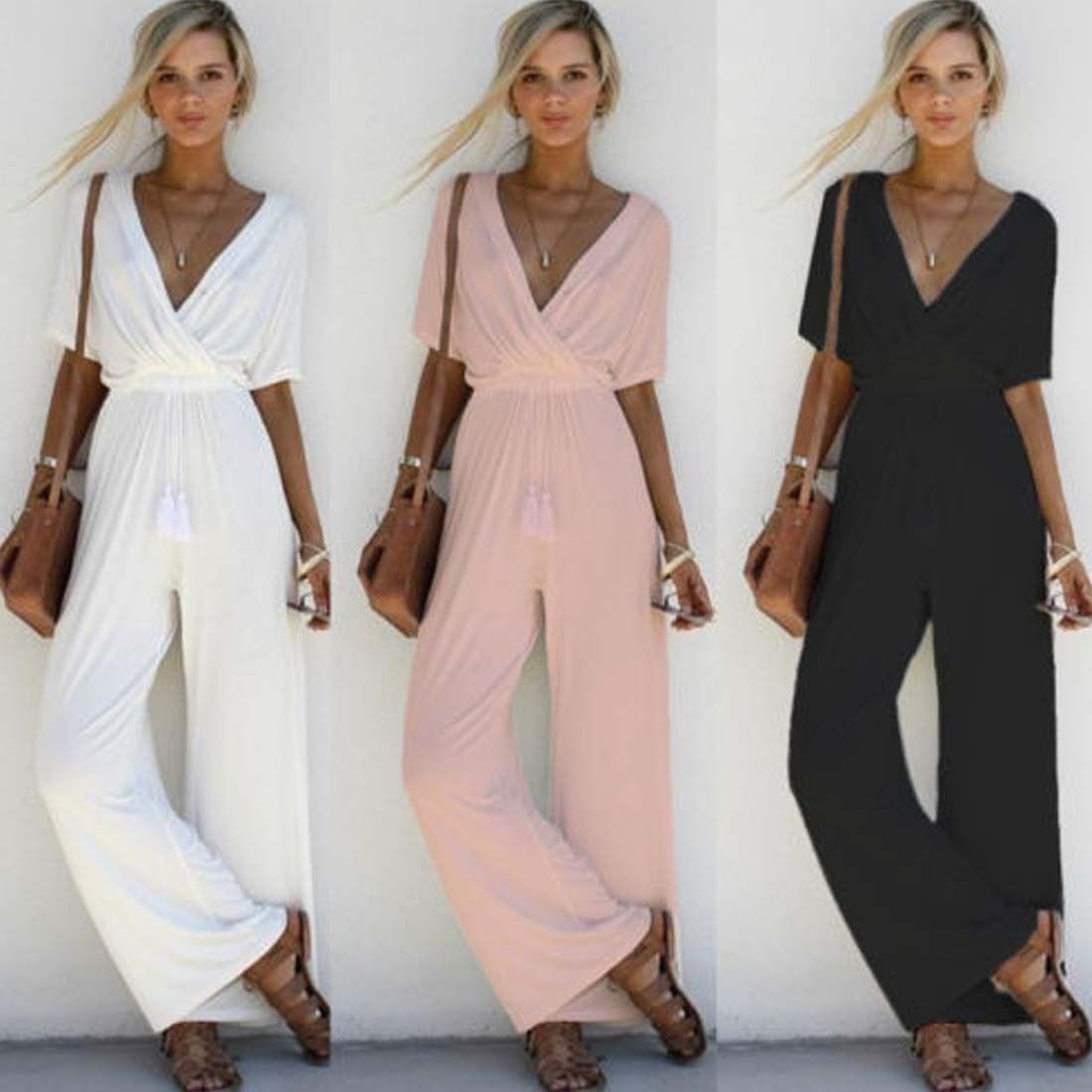 Newest Summer Casual Women V Neck Loose Playsuit Party Ladies Romper Short Sleeve Long Jumpsuit