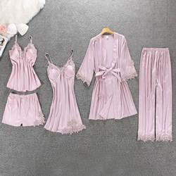 Для женщин пижамы 5 шт. атласные Pijama шелковые Домашняя одежда дома вышивка сна Lounge с нагрудники
