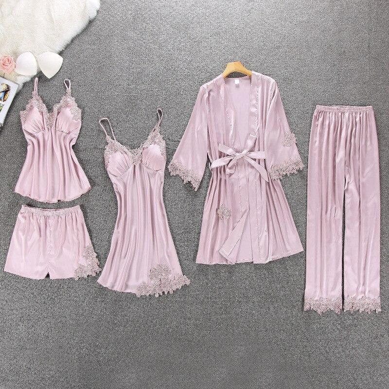 Pijamas de las mujeres de 5 piezas de ropa de dormir Pijama de seda ropa de casa ropa bordado salón dormir Pijama con almohadillas para el pecho