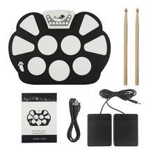 SLADE скручивающийся электронный барабанный коврик комплект цифровой USB MIDI клавиатура кремния Электрический барабан складной с барабанной палкой педаль