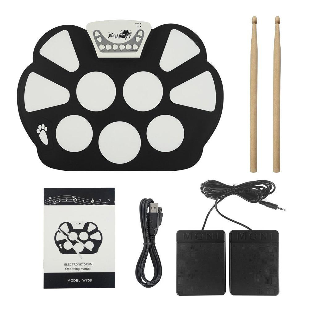 SLADE Roll Up Electronic Drum Pad Kit Digital USB MIDI Keyboard Silicon Electric Drum Foldable with Drum Stick Foot PedalSLADE Roll Up Electronic Drum Pad Kit Digital USB MIDI Keyboard Silicon Electric Drum Foldable with Drum Stick Foot Pedal