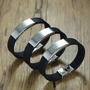 c3f1f8074db0 Vnox 16mm de acero inoxidable personalizado brazalete para HOMBRE pulseras  Cruz grabado Biblia pulsera de silicona