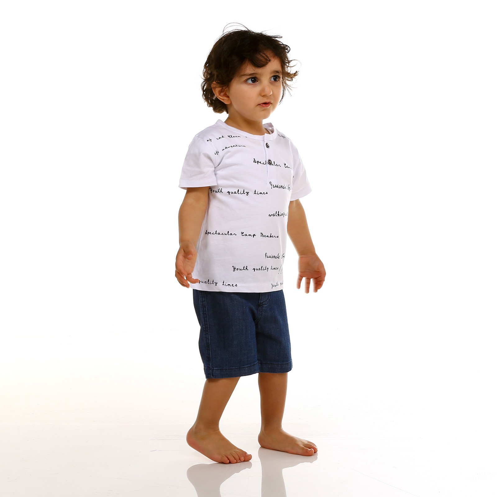 Tuffy Crew Neck Button Detailed Baby Tshirt