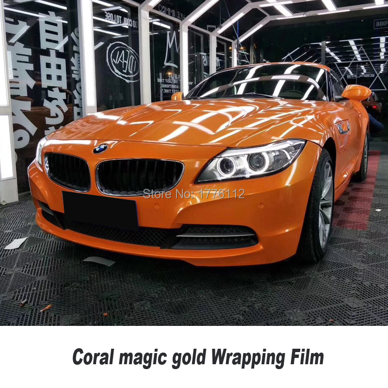 High Gloss Coral vinyl orange Car Wrap Magic Coral Film PVC Roll For Car wrapping film solvent based low initial tack adhesive
