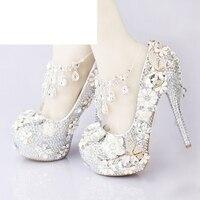 Роскошный Серебряный Свадебный Венчальный со стразами туфли со стразами Вечерние туфли на высоком каблуке с ремешками на лодыжках ручной р
