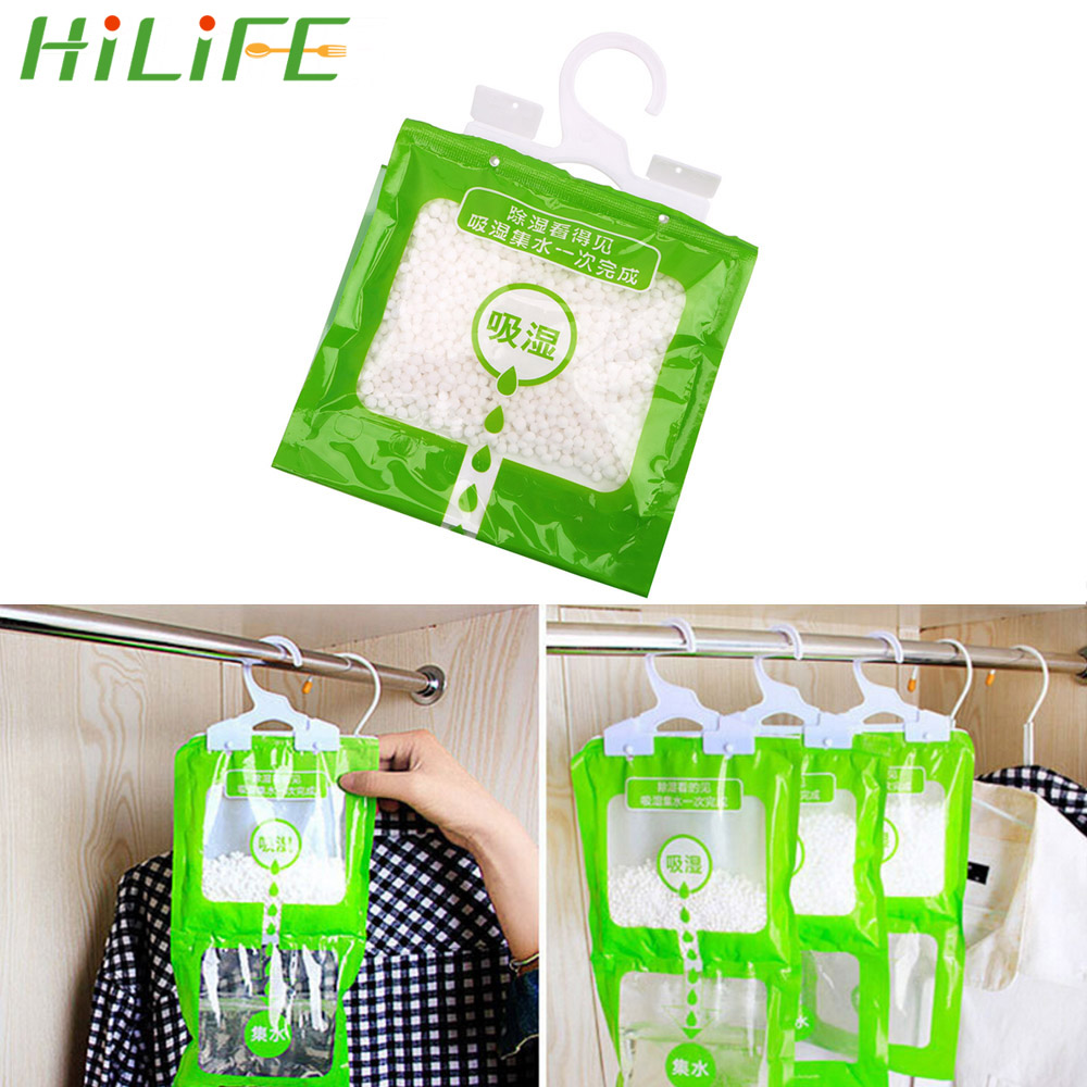 HILIFE Wardrobe Hanging Moisture Absorbent Bags Anti-Mold Desiccant Packets Closet Cabinet Dehumidifier Bag 1 Pc