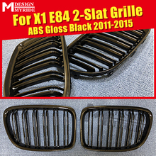 1 Pair X1 E84 Grille Front Bumper ABS Gloss Black M-Style Double Slats Grills For Kidney 2011-2015